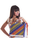 Free Young Girl With Striped Bags On Spine Look At You Stock Photo - 19203580