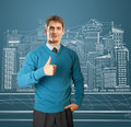 Free Man In Blue Shows Well Done Royalty Free Stock Image - 19203796