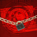 Free Chains And Lock Over Red Background Stock Photos - 19209433