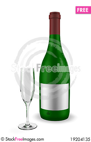 Free Wine Bottle With Glass Royalty Free Stock Photo - 19204135