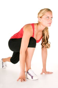 Beautiful Blond Women Exercising Stock Photo