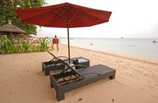 Free Two Chairs And Umbrella On The Beach Stock Image - 19200151