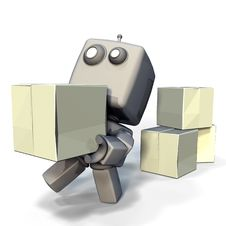 Free Gray Robot With Blank Crates Stock Photography - 19200262