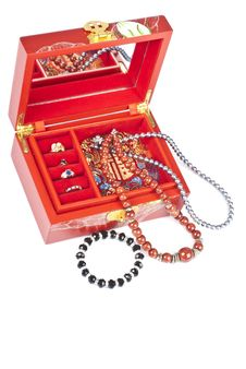 Red Chinese Jewelry Box With Rings And Necklaces Stock Images