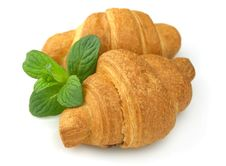 Free Fresh Croissants With Mint Royalty Free Stock Images - 19201599