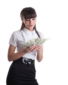 Free Happy Wonder Business Girl Count Dollars Royalty Free Stock Photos - 19203578