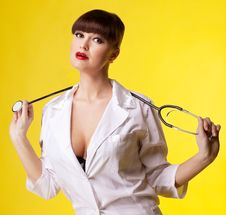 Sexual Woman In Nurse Suit With Stethoscope Stock Images