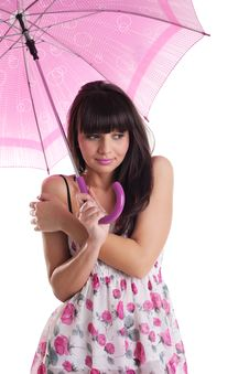 Free Girl Freeze Under Rose Umbrella In Summer Dress Royalty Free Stock Photo - 19203595