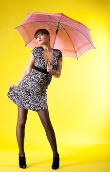 Sexy Woman With Rose Umbrella Pinup Style Stock Image