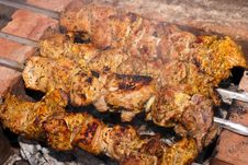 Free Meat To Broil On Coals Stock Photography - 19204232