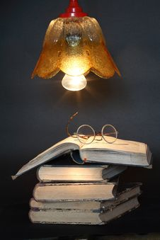 Free Books Under Lamp Royalty Free Stock Photography - 19204367