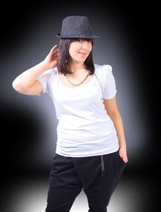 Beautiful Young Sexy Woman In Black Hat Royalty Free Stock Image
