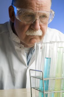 Chemist Working With Chemicals Stock Images