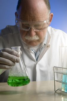 Chemist Working With Chemicals Royalty Free Stock Image