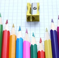 Free Pencils And Sharpener Royalty Free Stock Photo - 19205775