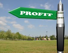 Free Profit Fountain Pen Road Sign Royalty Free Stock Photography - 19206047