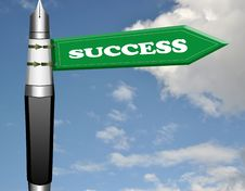 Free Success Fountain Pen Road Sign Stock Photo - 19206050
