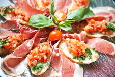 Free Bruschetta On A Glass Plate Stock Image - 19206451