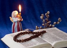 Free The Bible, Candle And Branch Willow, Royalty Free Stock Image - 19207676