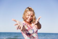 Free Beautiful Smiling Girl On The Beach Stock Photos - 19208583