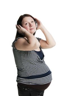 Free Pregnant Woman Listens To Music Royalty Free Stock Images - 19208649
