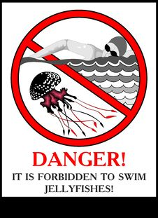 Free Poster Warning Of Jellyfish Royalty Free Stock Photo - 19209045