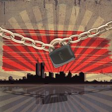 Cityscape Background With Chains And Lock Stock Photography
