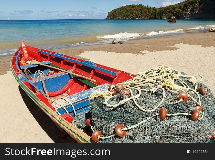 Fishing Boat On A Caribbean Beach