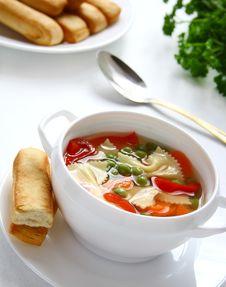 Free Vegetable Soup With Farfalia. Stock Photos - 19210943