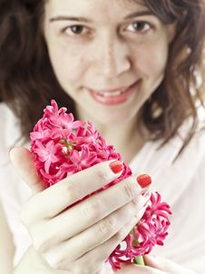 Free Girl With Hyacinth Stock Photography - 19211522