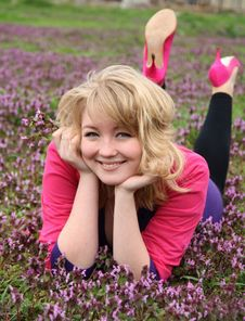 Free Young Beautiful Blond Cheerful Woman On Blooming F Stock Photo - 19211950