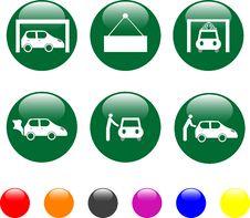 Free Car Service Green Icon Shiny Button Stock Photo - 19212090