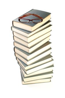 Free Stack Of Books And Eyeglasses Stock Photography - 19212432