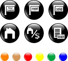 Free Set Of Icon House Sale Home Black Button Royalty Free Stock Image - 19213116