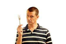 Man Holds Fork - Symbol Of Potential Stock Photography