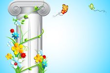 Floral Creeper Around Pillar Stock Photo