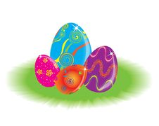 Eastern Rabbit Searching Eggs Color Royalty Free Stock Photos