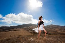 Free Beautiful Curly Woman Pose In The Mountains Stock Photos - 19214123