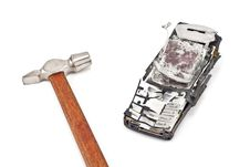 Free Smashed With A Hammer Mobile Phone Stock Photography - 19214892