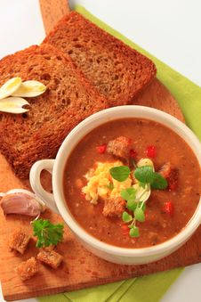 Free Goulash Soup And Fried Bread Stock Photo - 19215030
