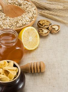 Free Oat, Honey And Healthy Food On Sacking Royalty Free Stock Image - 19217366