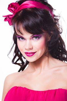 Free Beautiful Girl Wearing Pink On White Stock Images - 19217404