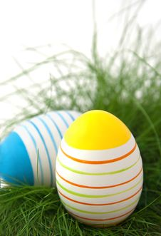 Free Striped Easter Eggs In Green Grass Stock Photo - 19217670