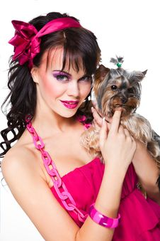 Girl Wearing Pink Holding Small Dog On White Royalty Free Stock Photo
