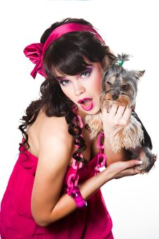 Free Girl Wearing Pink Holding Small Dog On White Stock Photo - 19217700