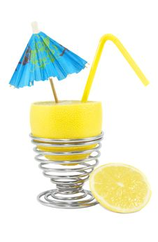 Free Lemon Cocktail With Umbrella And Straw Royalty Free Stock Images - 19217709
