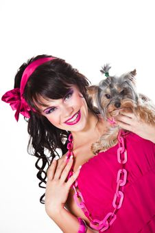 Free Girl Wearing Pink Holding Small Dog On White Royalty Free Stock Image - 19217746