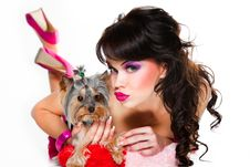 Free Girl Wearing Pink With Small Dog On White Royalty Free Stock Images - 19217829
