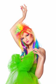 Free Beautiful Girl With Multicolored Wig Royalty Free Stock Photos - 19217888