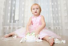 Baby Eating Cake Stock Images